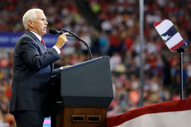 Vice President Mike Pence speaks during a campaign rally at U.S. Bank Arena in Downtown Cincinnati on Thursday, Aug. 1, 2019.