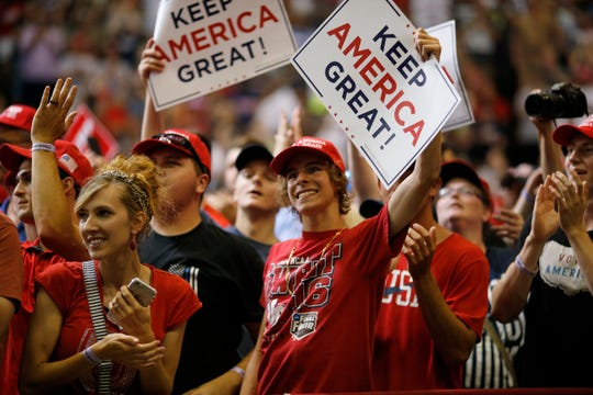 Supporters cheer as Vice President Mike Pence speaks during a campaign rally at U.S. Bank Arena in Downtown Cincinnati on Thursday, Aug. 1, 2019.