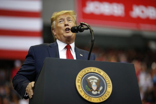 President Donald Trump speaks during a campaign rally at U.S. Bank Arena in Downtown Cincinnati on Thursday, Aug. 1, 2019.