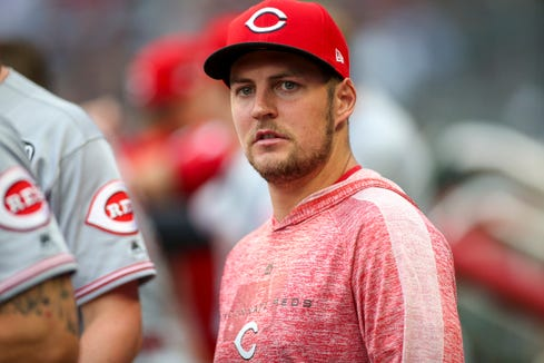 Aug 1, 2019; Atlanta, GA, USA; Cincinnati Reds starting pitcher Trevor Bauer (27) in the dugout against the Atlanta Braves in the second inning at SunTrust Park.