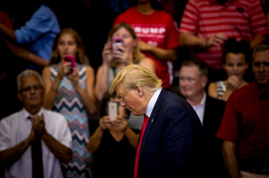 "President Donald Trump addresses the crowd at his ""Keep America Great"" campaign rally Thursday, August 1, 2019 at U.S. Bank Arena in downtown Cincinnati."