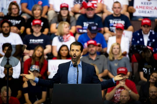 """Donald Trump Jr. addresses the crowd at the """"Keep America Great"""" campaign rally Thursday, August 1, 2019 at U.S. Bank Arena in downtown Cincinnati."""