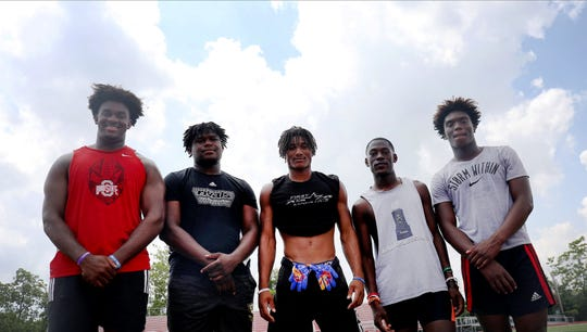 Princeton football has five committed Division I college prospects. They are, from left, Paris Johnson Jr. (Ohio State) Darrion Henry (Ohio State), Juan Jarrett (Kansas), Elijah Eberhart (Bowling Green) and Jaheim Thomas (UC).
