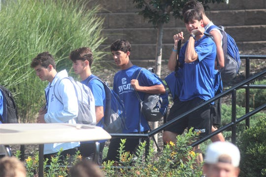 Covington Catholic football players after practice August 2, 2019.