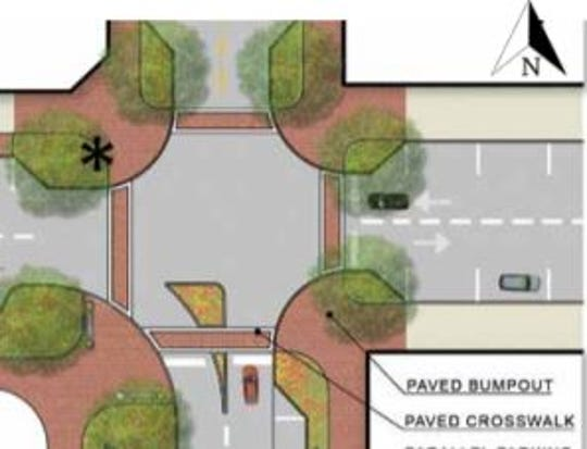 "Changes to the intersection curbs, called ""bumpouts"" would provide for safer pedestrian crossing and slower traffic without narrowing traffic lanes."