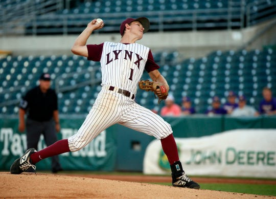 Jake Hilmer of North Linn pitches in the 2A state tournament semifinal Thursday, Aug. 1, 2019.