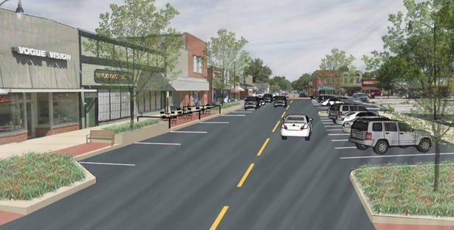 The proposed streetscape designs for Indianola includes angled parking near the county courthouse and parallel parking near businesses.