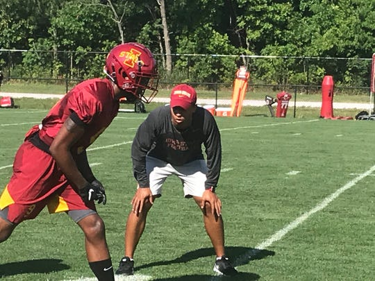 Iowa State wide receivers coach Nathan Scheelhaase oversees a workout on Friday, August 2, 2019, in Ames.