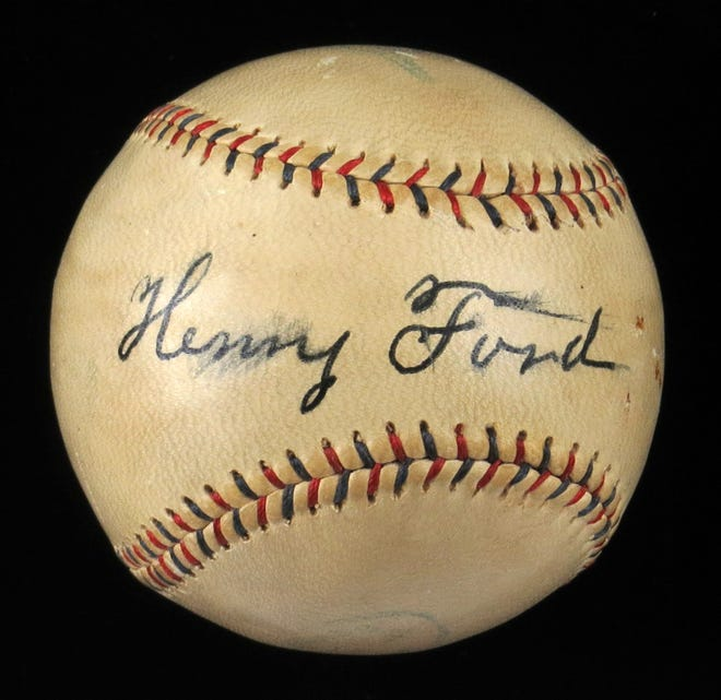 Auction house Huggins and Scott is auctioning a baseball signed by Henry Ford at the Ford Trade School in New York City on December 16, 1933.