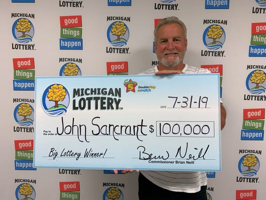 Newport, Michigan resident John Sancrant won a $100,000 Fantasy 5 jackpot July 27.