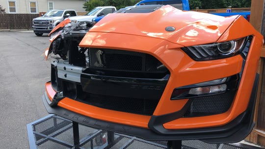 A bigger opening in the nose helps cool the 2020 Mustang Shelby GT500's 760-hp V8.