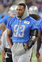Detroit Lions' Da'Shawn Hand on the field during practice during Friday, August 2, 2019 at Ford Field.