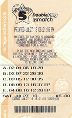 John Sancrant's Fantasy 5 ticket matched the winning numbers drawn July 27—03-05-12-30-35.