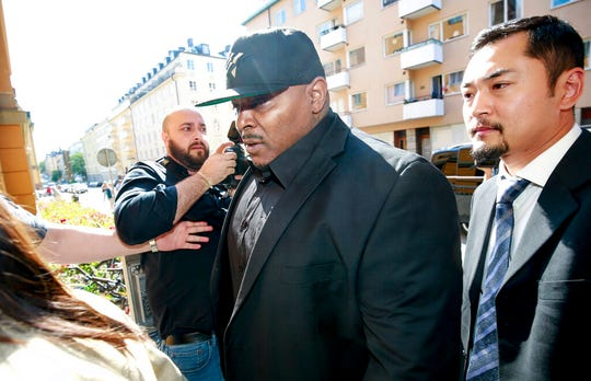 One of A$AP Rocky's bodyguards arrives at the district court in Stockholm, Friday Aug. 2, 2019, the third day of A$AP Rocky's trial.