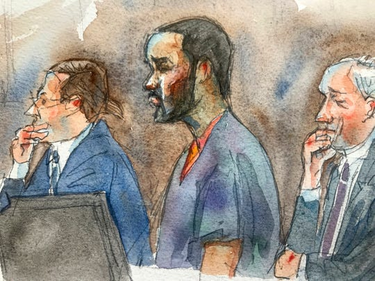 In this courtroom sketch, R&B singer R. Kelly, center, listens in federal court with his attorneys Doug Anton, left, and Steve Greenberg during his arraignment, Friday, Aug. 2, 2019 in New York.