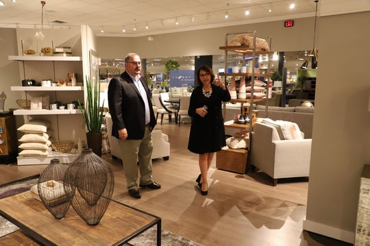 Gail Galea, Art Van's chief marketing officer, and CEO Ron Boire in the new home department at Art Van in Warren. Both Galea and Boire are leaving the company, Art Van has announced