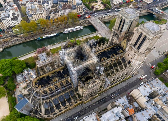 An aerial shot of the fire damage to Notre Dame cathedral in Paris.