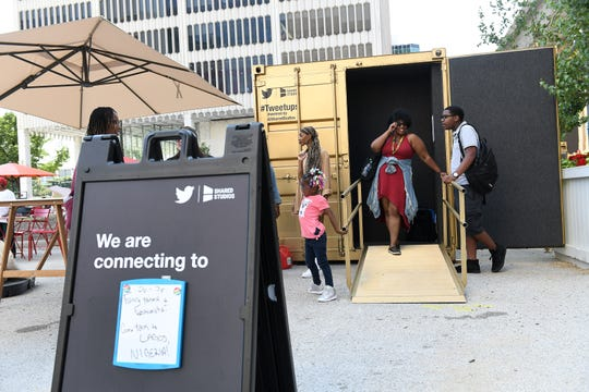 People gather at the Shared Studio in Detroit's Spirit Plaza downtown.