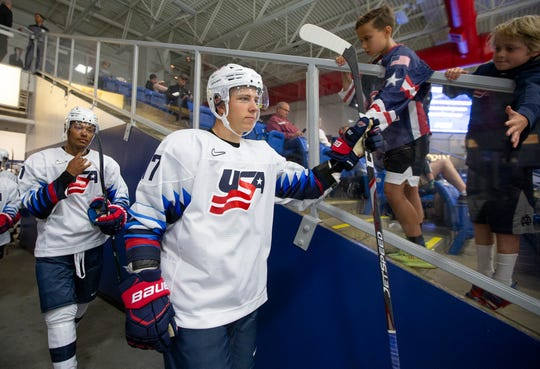Rochester Hills native Jon Gruden had an assist in Friday's 6-5 loss against Finland at the World Junior Summer Showcase in Plymouth.