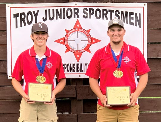Jesse Rowe, left, a member of the Troy Junior Sportsmen, captured overall individual honors at the recent NRA Youth Hunter Education Challenge Eastern Regional Championship. Teammate Dylan Krise was the top senior shooter at the event, held at the Chemung County Rod and Gun Club in Breesport.