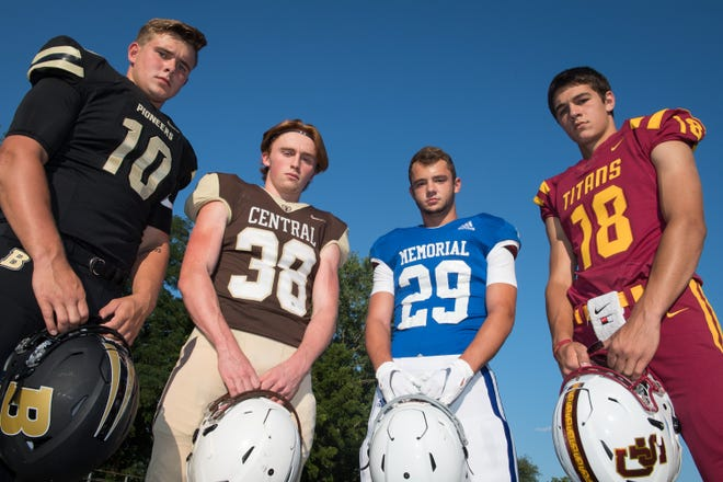 Left to right, Jackson Phillips (10) Boonville, Brennan Schutte (38) Central, Finn McCool (29) Memorial and Brady Allen (18) Gibson Southern Friday, July 23, 2019.