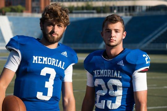 Memorial High School teammates Colton Pence (3) and Finn McCool (29) Friday, July 23, 2019.