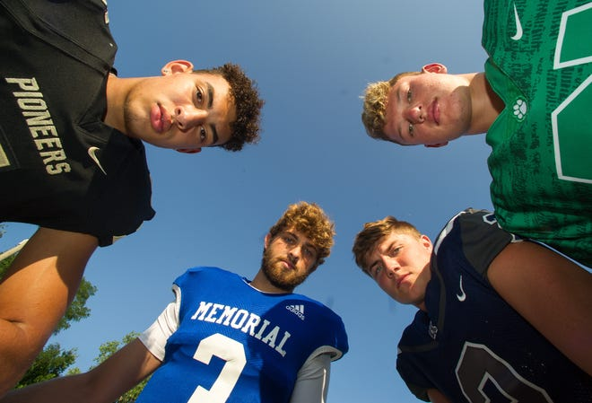 Left to right, Devin Mockobee (5) Boonville, Colton Pence (3) Memorial, Reid Brickey (2) Reitz, and Dylan McKinney (21) North