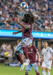 Defender Lalas Abubakar of the Colorado Rapids heads the ball away from the goal during a July 27, 2019, game at San Jose. The Rapids return home Saturday for a 7 p.m. game against the Montreal Impact at Dicks Sporting Goods Park in Commerce City.