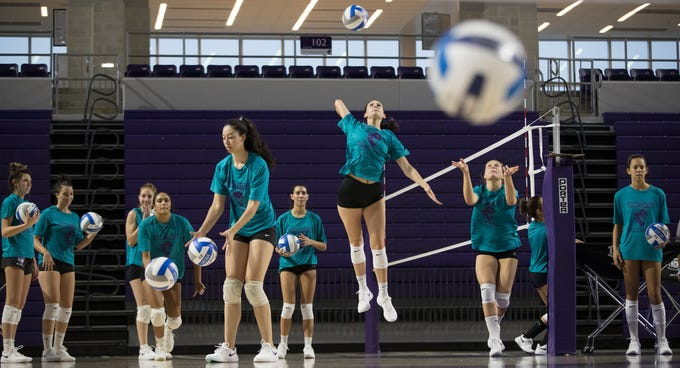 Florida Southwestern State College  volleyball players practice on Thursday at FSW in Fort Myers. The upcoming season is the team's first official season and will feature local and international players.