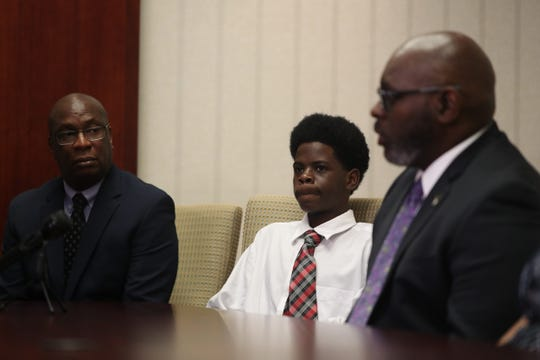 Joe North held a press conference at his Fort Myers offices on Friday August, 2, 2019 defending Lavaris Johnson, 14. The Lee County Sheriff's Office arrested Johnson for skipping out on paying fare for a taxi ride from Cape Coral to Lehigh. His mother says he is being wrongly accused and has video survellance footage to prove it.