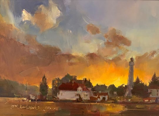 """Tom Nachreiner's painting """"Coast Guard Lighthouse"""" was awarded second place in the 2019 Door County Plein Air Festival."""