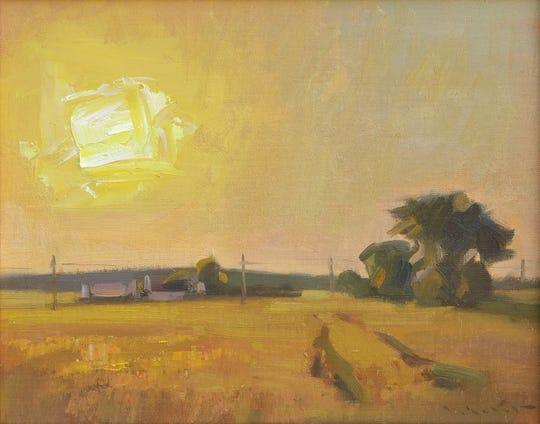 """John Lasater's painting """"Harvest Sun"""" was awarded first place in the 2019 Door County Plein Air Festival."""