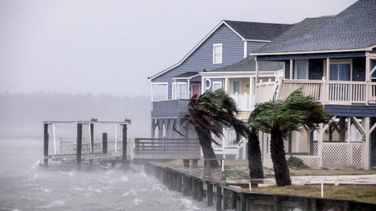 Waves lash a seawall at Cherry Grove in North Myrtle Beach. The effects of Hurricane Florence hit the area the morning of Friday, September 14, 2018.