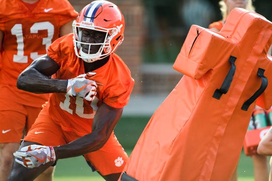Clemson wide receiver Joseph Ngata (10) runs through drills during practice at the Allen N. Reeves Football Complex Friday, Aug. 2, 2019.