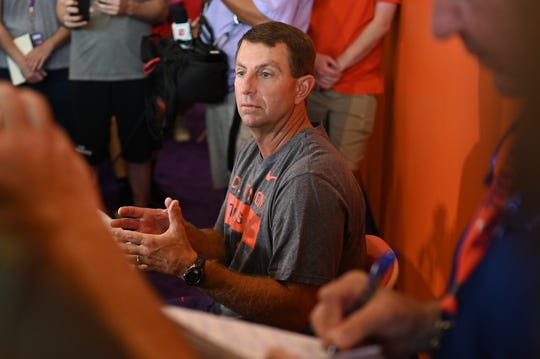 Clemson coach Dabo Swinney speaks to the media before the opening of preseason camp on Friday, August 2, 2019.