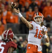 Quarterback Trevor Lawrence (16) could take aim at Clemson's records for passing yards and passing touchdowns in a season in 2019.