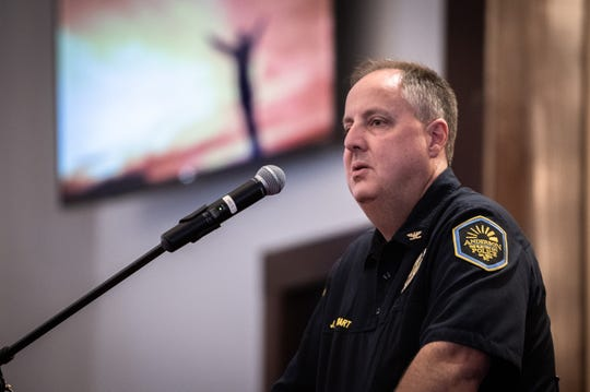 Anderson police chief Jim Stewart speaks at a prayer service at Royal Baptist Church, Thursday, August 1, 2019, which Rev. Emanuel Flemming Sr. organized to address the gun violence the city has been struggling with.