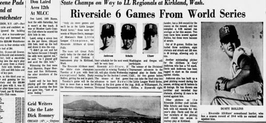 The Tribune covered the story when the Riverside Little League team from Great Falls was preparing for the state tournament in 1969.