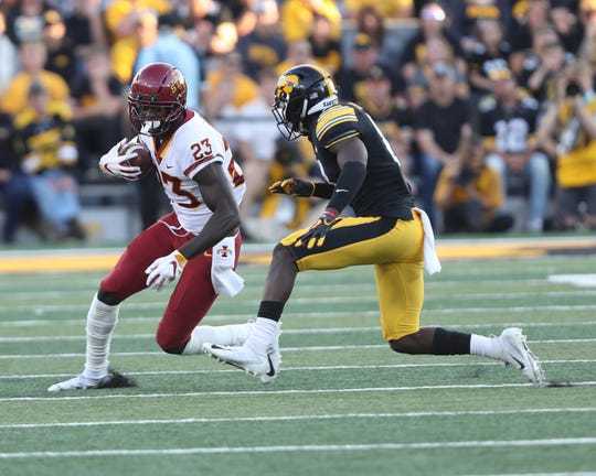 Iowa State Cyclones wide receiver Matthew Eaton (23) catches a pass against the Iowa Hawkeyes at Kinnick Stadium in this Sept. 8, 2018, file photo. Eaton, who played for Guam High, has been signed by the Tampa Bay Buccaneers. Mandatory Credit: Reese Strickland-USA TODAY Sports