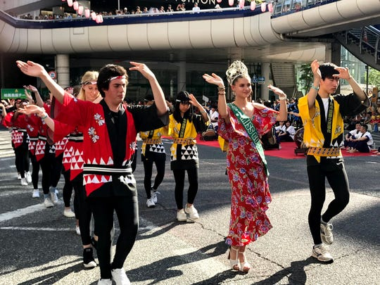 Miss Earth Guam 2018 Emma Sheedy participates in the Kashiwa Odori Contest alongside members of the Torrance Sister City Association during the Kashiwa Festival, held July 27-28.