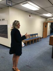 Lindsay Thompson gives a tour of Central Academy last week.