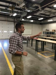 New Ag Teacher J.T. Payne shows off workshop at high school (Aug. 1, 2019).