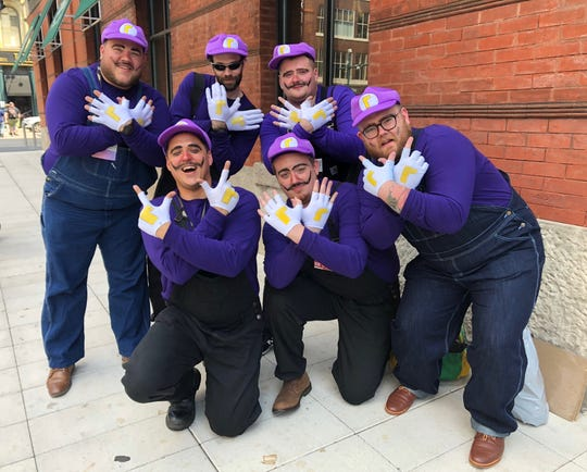 "This group of six friends chose to dress up as Waluigi, the arch nemesis of Luigi in the ""Mario Bros."" franchise."