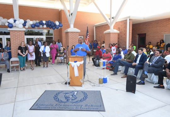 Jackson-Madison County Schools Superintendent Ray Washington welcomes the community to the grand opening of the new Lincoln Elementary School on Friday, Aug. 2.