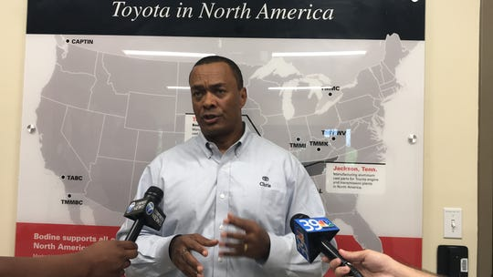 Toyota executive Chris Reynolds was in Jackson to discuss tariffs, trade deals, fuel efficiency standard and the need for skilled workers at the Jackson Toyota Bodine plant on Wednesday.
