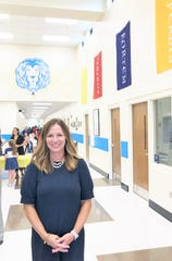 Inskip Elementary principal Lynn Jacomen welcomed families into the school's new 29,000-square-foot addition. 8/1/19