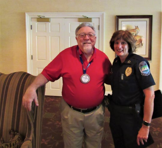 Farragut Rotary's public relations chair Tom King welcomed featured speaker KPD Chief Eve Thomas to Fox Den Country Club on July 31.
