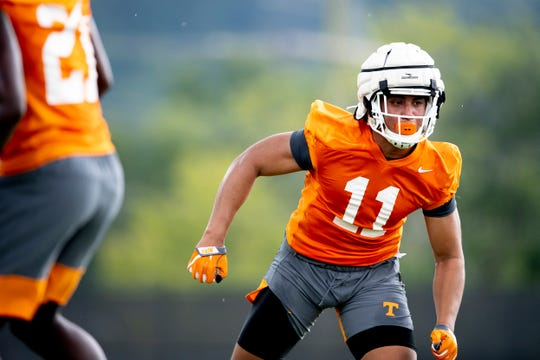Tennessee linebacker Henry To'o To'o (11) during the first day of Tennessee Vols football practice at Haslam Field in Knoxville, Tennessee on Friday, August 2, 2019.