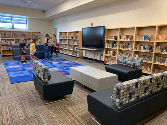 The new media center at Inskip Elementary features an interactive blackboard, new couches and desks. Librarian Amy Collins said students are amazed.