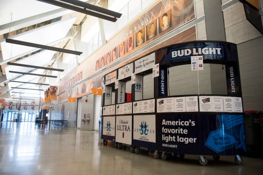 A kiosk is seen where beer will be sold in Thompson-Boling Arena on University of Tennessee's campus Friday, Aug. 2, 2019.